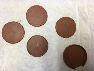 ~ Golfing Coasters Set of 4 Golf ~ Custom collectors ~ Leather Positions 1-4 ~A2