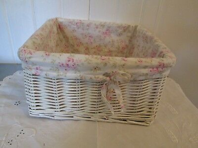 Simple Shabby Chic Wicker Basket Tiny Pink Roses Cloth Liner Rachel Ashwell