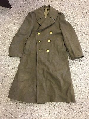 VTG World War Two WW2 WWII Military 1940 US Army Wool Trench Overcoat