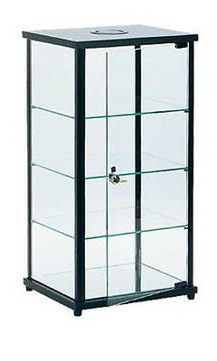 Black Square Glass Countertop Display Case with 3 fixed shelves and Door Lock