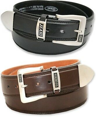 Mens Jeans Belts With Metal Tip In Black or Brown Sizes From 32 Inch to 48 Inch