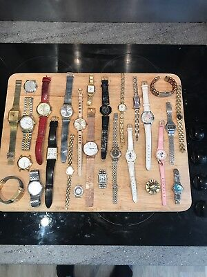 27 Quartz Watches Joblot for Spares Or Repair - not working