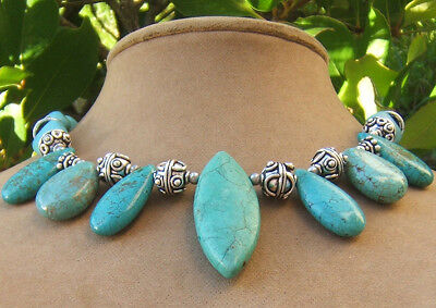 Turquoise Pendant Necklace Teardrop Silver Bali Beads Earth Couture Art