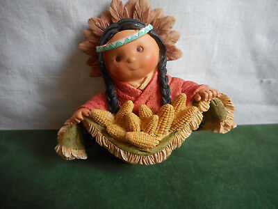 Vintage Enesco Friends of the Feather Indian Girl Corn Feathers 1996 Karen Hahn
