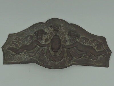 Antique Cast Iron Wall Plaque w/Angels Cherubs Urn Figural In Relief