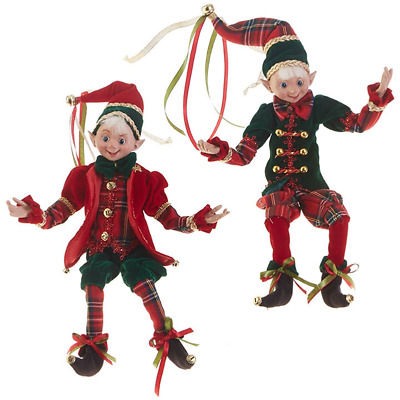 RAZ Imports Posable Elves — Set of 2 Bendable Christmas Elf Decorations 3802294
