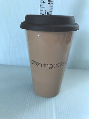 Bloomingdales Brown Ceramic Travel Mug 12 Ounce With Lid Excellent + FreeUSAship