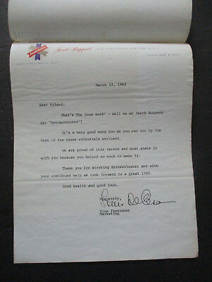 Vintage 1962 Ruppert Knickerbocker Beer Thank you Letter