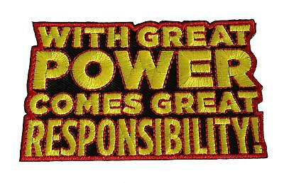 Spiderman Responsibility Embroidered Iron On Patch - Marvel Comics 142-L