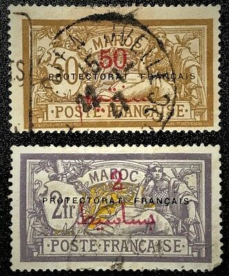 MOROCCO 1914 Sc#51,53 French Protectorate Used H FAIR (book 1)