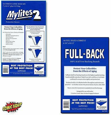 50 Mylites2 CURRENT Mylars Bags & Full Back Comic Boards 700M2/675FB E. Gerber