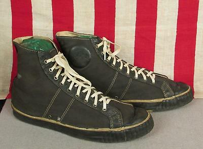 Vintage 1930s Keds Black Canvas High-Top Basketball Sneakers Athletic Shoes 9.5