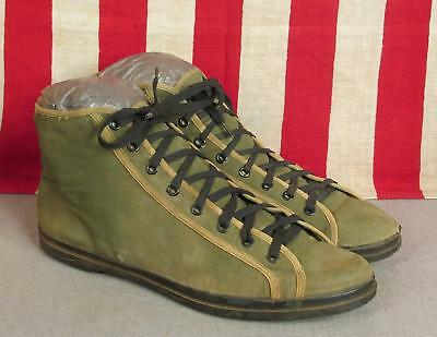 Vintage 1940s Military Canvas Basketball Sneakers WWII Athletic Shoes OD Sz.11