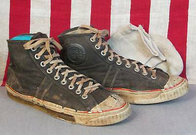 Vintage 1950s Ball Band Blk.Canvas High-Top Sneakers Athletic Shoes Sz.8 w/socks