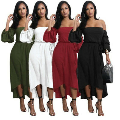 Fashion Women Holiday Off Shoulder Maxi Ladies Summer Beach Party Dress one