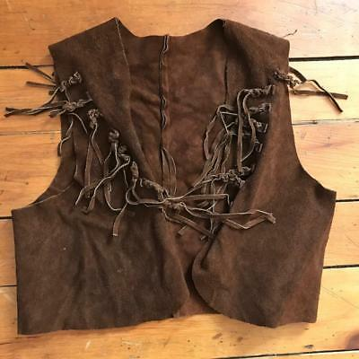 Vintage Brown Leather Vest Youth Size Cowboy