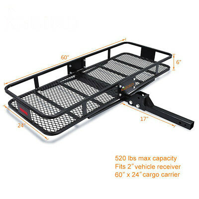 "60"" x 24"" x 6"" Folding Cargo Carrier Hitch Luggage Basket Storage Rack Extra-..."