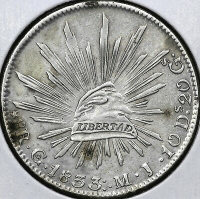 1833Go-MJ EIGHT 8 REALES REPUBLIC OF MEXICO