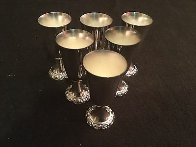 Wallace Baroque Silver Plate Set 6 Cordial Shot Glasses 231