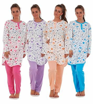 Ladies Cable Design Flannel Fleece Pyjama Set Long Sleeve Winter Loungewear 8-18