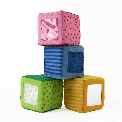 Happy Quartett Blocks - 4 Colorful Fabric Play Toy Cubes - Washable