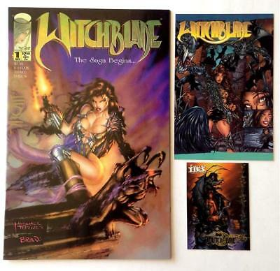Witchblade 1 Signed by Writer David Wohl Plus Promo Trading Card & Postcard NM+