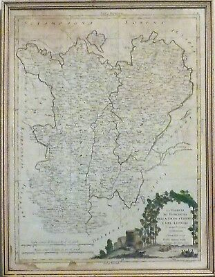 1777 Antique Map of East Central France. Hand Colored and Framed -Antonio Zatta