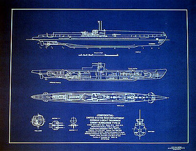 "Vintage German UBOAT Type IX  WW2 Blueprint Plan 18"" x 24"" (140)"