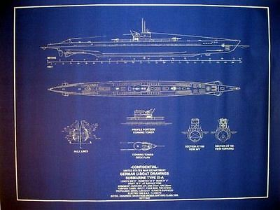 "WW2 Submarine German UBoat Type IX-A 1939 Blueprint Plans 24"" x 31"" (108)"