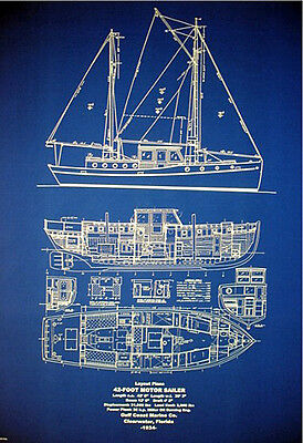 Florida Yacht MotorSailor Vessel 42 footer 1934  Blueprint Plans 24x32 (126)