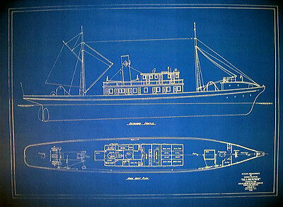 "Vintage Tuna Boat 1918 Blueprint Plan 24""x 33"" (080)"