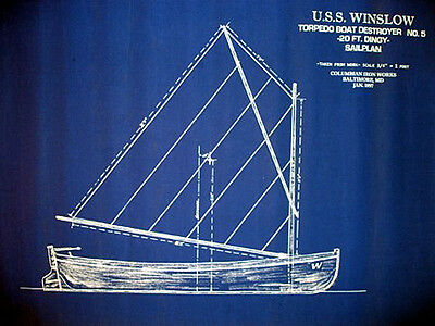 "Yacht Plan Vintage Sailboat Dingy Lifeboat 1897 Blueprint Drawing 19""x25"" (047)"