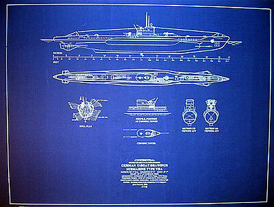 "Ships Plan German UBOAT WW2 Submarine Type VIIA Blueprint 24""x30"" (060)"