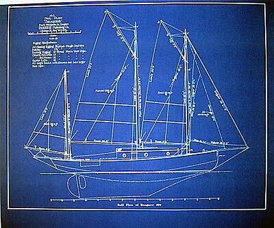 "Marine Architect Drawing Sailboat 1913 Blueprint Plan Drawing 19""x24"" (276)"