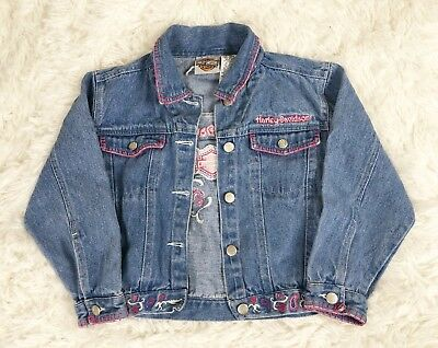 Girl's Toddler Harley Davidson HD Embroidered Blue Jean Jacket 6X Riding Biking