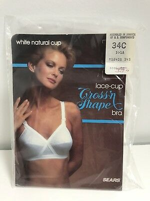 Vintage Sears Bra Cross n Shape Lace Cup White Natural 34C New Old Stock