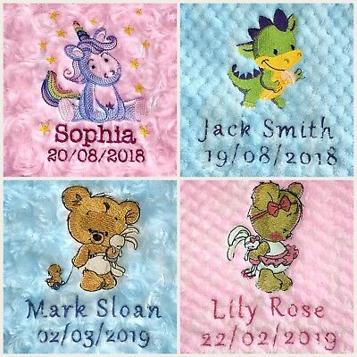 Personalised baby blanket embroidered luxury waffle/rose fur boy girl pink blue