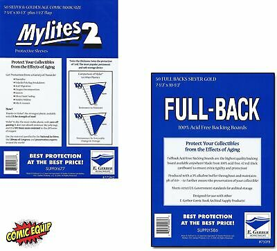 50 - MYLITES 2 SILVER/ GOLD Comic Mylars & 50 - FULL-BACK SILVER/ GOLD Boards