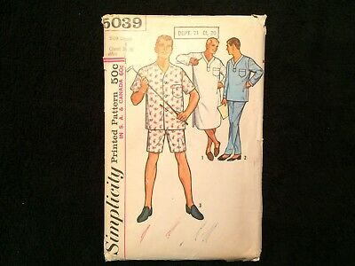 Simplicity Pattern 5039 Men's Pajamas Short & Long & Nightshirt Size Small