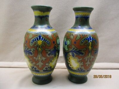 2 Gouda pottery vases marked Zuid-Holland, decoration Rhodian number 813.