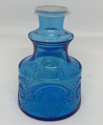 Vintage Wheaton Blue Glass Flower Design Bottle. 4 1/2""