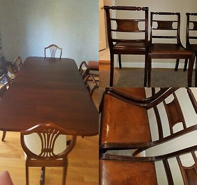 Berkey & Gay Cherry Mahogany Dining Rm Table w 6 Chairs (incldg 2 Master Chrs)