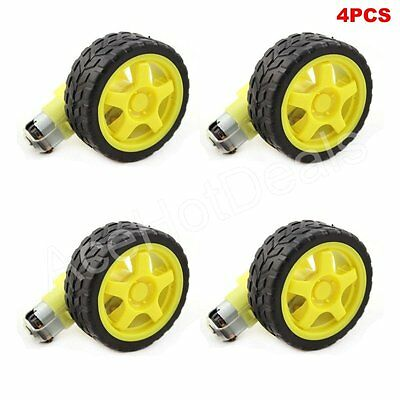 4 PCS Arduino Smart Car Robot Plastic Tire Wheel with DC 3-6V Gear Motor
