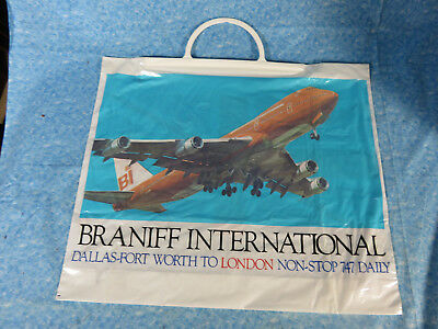 Vintage Braniff Airlines DFW to London Shopping Bag