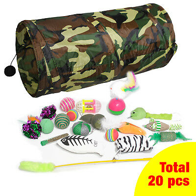 20 Pieces Interactive Cat Toys Variety Pack Cat Tunnel Fluffy Mice Ball Catnip