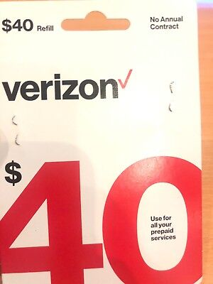 $40 Verizon Wireless Prepaid Refill Card NEW