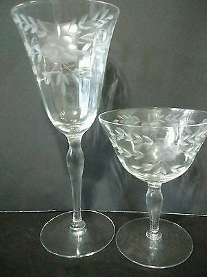 Vintage clear etched crystal stemware...set of 8 pieces total. 4 tall & 4 short.