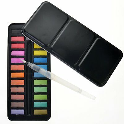 12 18 24 Watercolour Paint Set Painting Water Colour Art Artist Tool With Brush