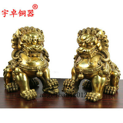 """13"""" A pair China antique bronze palace gate Play ball foo dog lion Statues"""