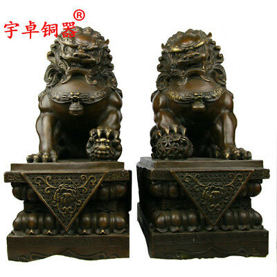 """17"""" A pair China old antique bronze foo dog lion ball palace gate Statues"""
